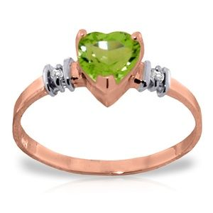 GOLD RING WITH NATURAL PERIDOT & DIAMONDS